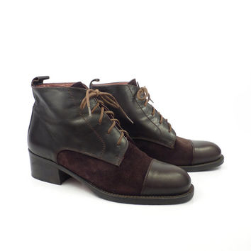 Brown Granny Boots Vintage 1980s High Heel Lace Up  Leather Ankle Booties Women's size 36