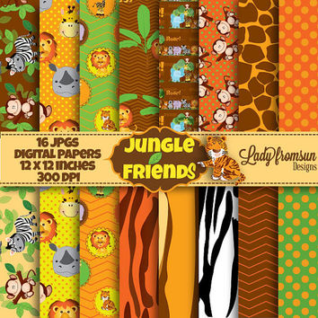 Jungle Friends digital papers, Safari Jungle Animal Digital,scrapbooking paper,animal patterns,backgrounds,lion,hipo Commercial-Personal Use