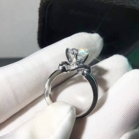 1 Ct Twisted Knot Engagement Ring, Plain Double Band Ring, Promise Ring for her, Sterling Silver Anniversary Rings, Man made diamond ring