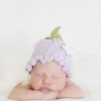 Crochet Girls Ruffle Flower Fairy Hat Butterfly, Spring Flower Hat, Newborn Photo Prop, Newborn, Baby, Infant, Toddler, Picture Prop, Pic