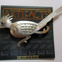 Vintage JJ pin -  Road Runner- Art Deco style-Jonette Jewelry brooch-  Unique gift for her- Artifacts Collectible 1986-original NOS