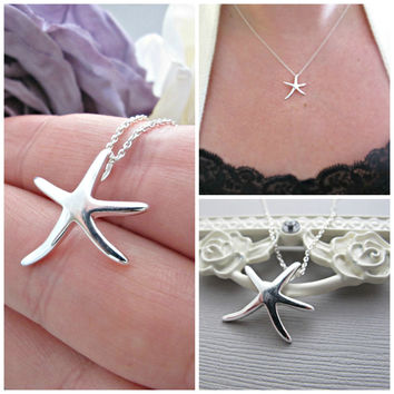 Starfish Necklace - Silver Starfish Necklace - Beach Wedding - Wedding Jewelry - Nautical jewelry - Mother of Bride - Mother of Groom