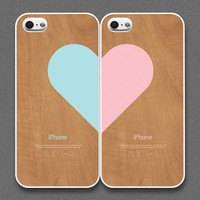 iPhone 5 Case - Love pairs for couples : Wood pattern (set of 2 cases per order)