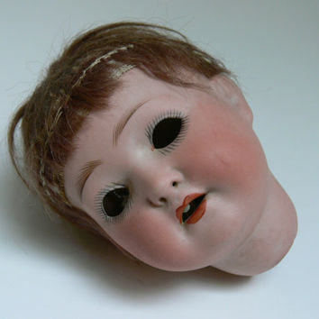Vintage German Bisque Doll Head by EitherOrFinds on Etsy