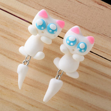 Pameng 2017 New Fashion Cute Animal Cat Stud Earrings For Women Girl Handmade Polymer Clay Jewelry
