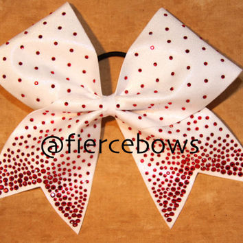 Red Princess Rhinestones on White Cheer Bow