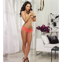 Stretch Lace Open Crotch Short Coral Medium