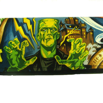 USA Handmade Woman Wallet with Monster Frankenstein Horror Movie Robert Kuafman Fabric Cotton, new, rare