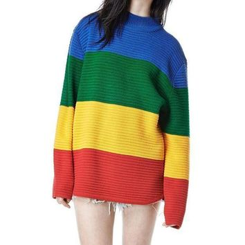DCCK8H2 Sweater Rainbow Color Block Knitted Loose Oversized Sweater Jumper Spring Women Pullovers Sweater