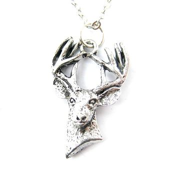 Detailed Stag Deer Head Shaped Animal Charm Necklace in Silver | MADE IN USA