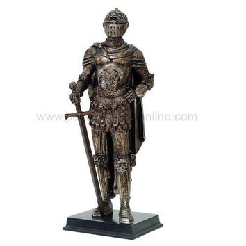 Medieval Knight with Face of Fury Helmet Statue - 8561