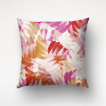 Pink Abstract Pillow, Graphic Pattern, Decorative Case, Housewares