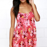 Billabong Lovely Roads Coral Pink Floral Print Dress