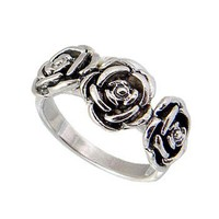 Beautiful Three Roses Sterling Silver Ring
