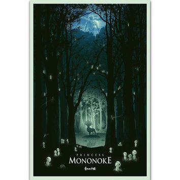FX818 Princess Mononoke Classic Cartoon Studio Ghibli Hot Japan Anime Custom Poster Art Silk Canvas Home Room Wall Print Decor