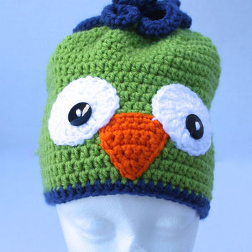 Crochet Toddler Hat - Childrens Animal Hat - Owl Hat - Green and Blue