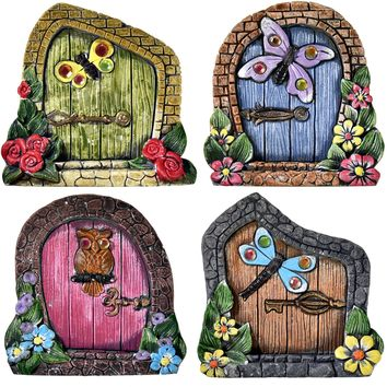Gift Boutique Set of 4 Whimsical Miniature Fairy Doors Statue House Figurines for Home Lawn Patio Indoor & Outdoor Garden Yard Decor Supplies Accessories by