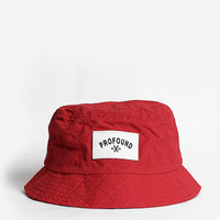 Quilted Nylon Bucket Hat in Red