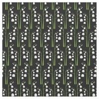 White Digital Lily of the Valley Floral Pattern Fabric