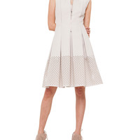 Women's Perforated Hem Zip-Front Fit-And-Flare Dress - Akris punto - Canvas (6)