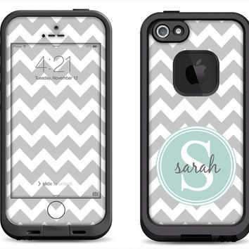 Gray Chevron Pattern w/ Mint Green Monogram Decal Skin for the iPhone 4/4s Lifeproof Fre Case, iPhone 5/5s/5c Lifeproof Fre/Nuud Case
