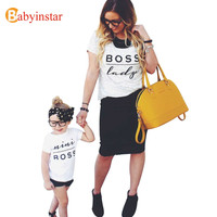 Letter Printed Family Clothing Dad Mom Son Daughter Matching Clothes Fashion Family T-shirt Outfits 2017 New Casual Family Look