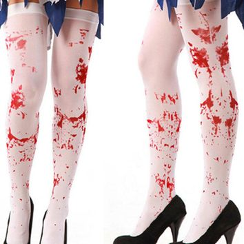 Womens Costume Dress Blood Bloody Socks Stockings Halloween Gothic Nurse Zombie