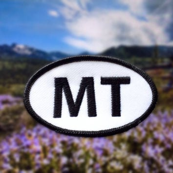 "Montana MT Patch - Iron or Sew On - 2"" x 3.5"" - Embroidered Oval Appliqué - The Treasure State - Black White Hat Bag Accessory Handmade USA"