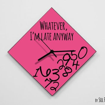 Whatever, i'm late anyway / Polygon Pink - Wall Clock