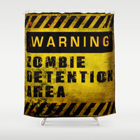 Warning - Zombie Detention Area Shower Curtain by Nicklas Gustafsson