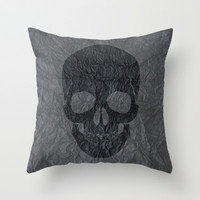 Black Skull Throw Pillow by C Designz