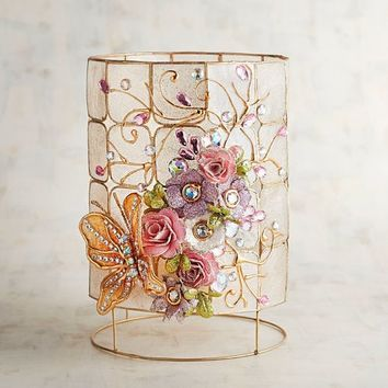 Capiz Floral Hurricane Candle Holder