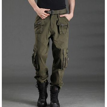 2017 Free Shipping New Fashion Autumn-Summer Army Green Camouflage Pants Loose Jeans Baggy Cargo Pants For Unisex Women Men
