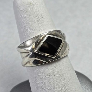 Estate Sterling Silver Cigar Band Ring With Onyx 925 Handmade Jewelry