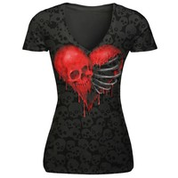 Women Short Sleeve Love skull Head Print Casual Tee