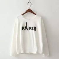 White Letter Paris Tower Embroidery Long Sleeve Shirt