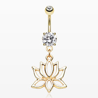 Golden Lotus Mandala Belly Button Ring