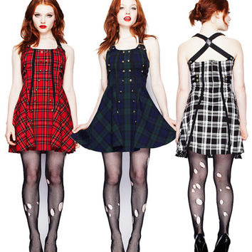 Hell Bunny Tartan Rock Military Dress Green Red or White Punk Goth