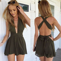 Black White Green Summer Sexy Women Deep V-Neck Backless Romper Playsuit Jumpsuit Short Pants S-XL