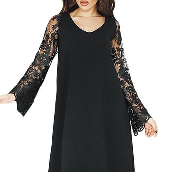 Black Sheer Floral Sleeve Swing Dress