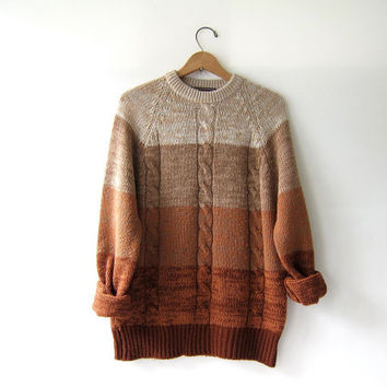 Vintage 70s sweater. brown ombre sweater. cable knit sweater. pullover sweater. pumpkin orange.