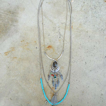Thread and River Tassel Necklace