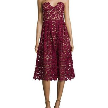 Self-Portrait Azaelea Guipure-Lace Illusion Dress, Burgundy