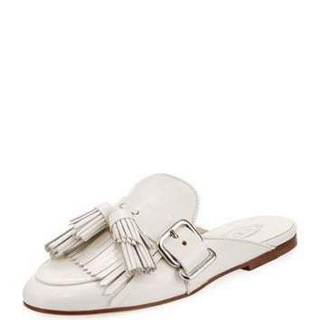Tods Tassel Fringe Leather Mule Slide