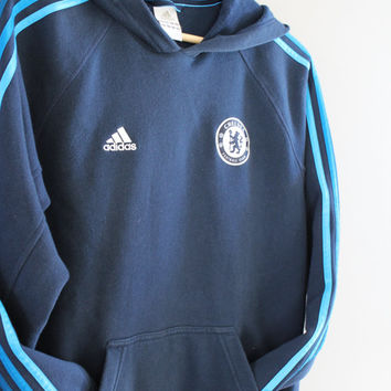 Adidas Hoodie Chelsea Football Club Blue 3 Stripes Sweatshirt Fleece Lining Cotton Pullover Loose-fit Vintage Retro 90s Sweater Size S - M