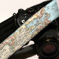 dSLR Camera Strap. Vintage Camera Strap. World Map Camera Strap. Camera accessories