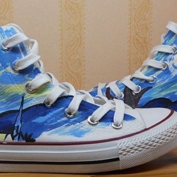 Van Gogh hand painted shoes spring hand painted canvas shoes