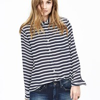 Banana Republic Womens Striped Boyfriend Shirt