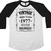 Custom Birthday Gift Ideas 40th Birthday T Shirt Personalized TShirt Custom Year Vintage 1977 Birthday Aged Perfectly Baseball Tee - BG46
