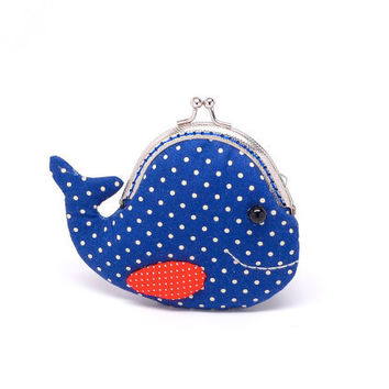 Cute navy blue whale clutch purse by michellechan1010 on Etsy